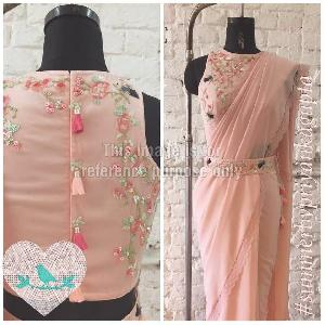 Baby Pink Coloured Saree With Embroidered Blouse and Belt