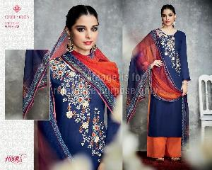 Dark Blue Coloured Suit With Dupatta and Palazzo
