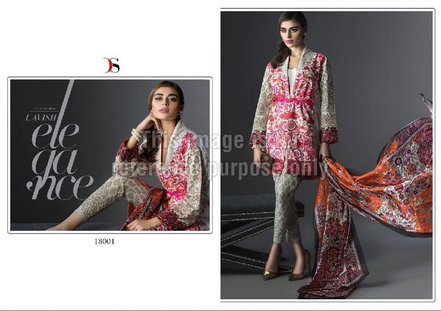 Printed Designer Kurti With Dupatta and Bottom