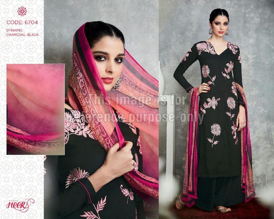 Embroidered Black Coloured Suit With Printed Dupatta