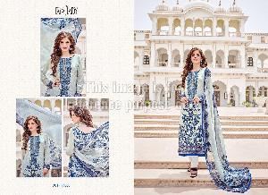 Printed Blue Coloured Pakistani Crepe Suit