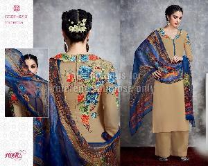 Embroidered Beige Coloured Suit With Dupatta