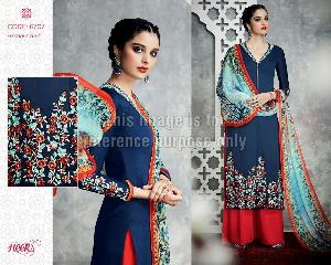 Blue Coloured Embroidered Suit With Red Palazzo