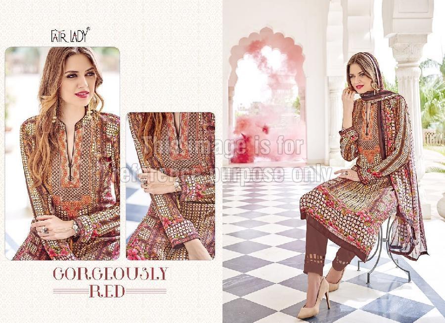 Pakistani Designer Crepe Suit With Dupatta