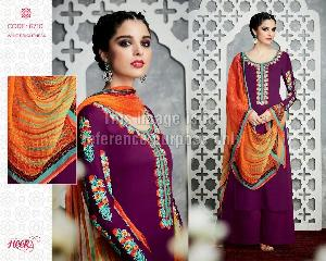 Purple Coloured Embroidered Suit With Palazzo