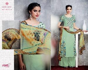 Tea Green Simple Suit With Dupatta