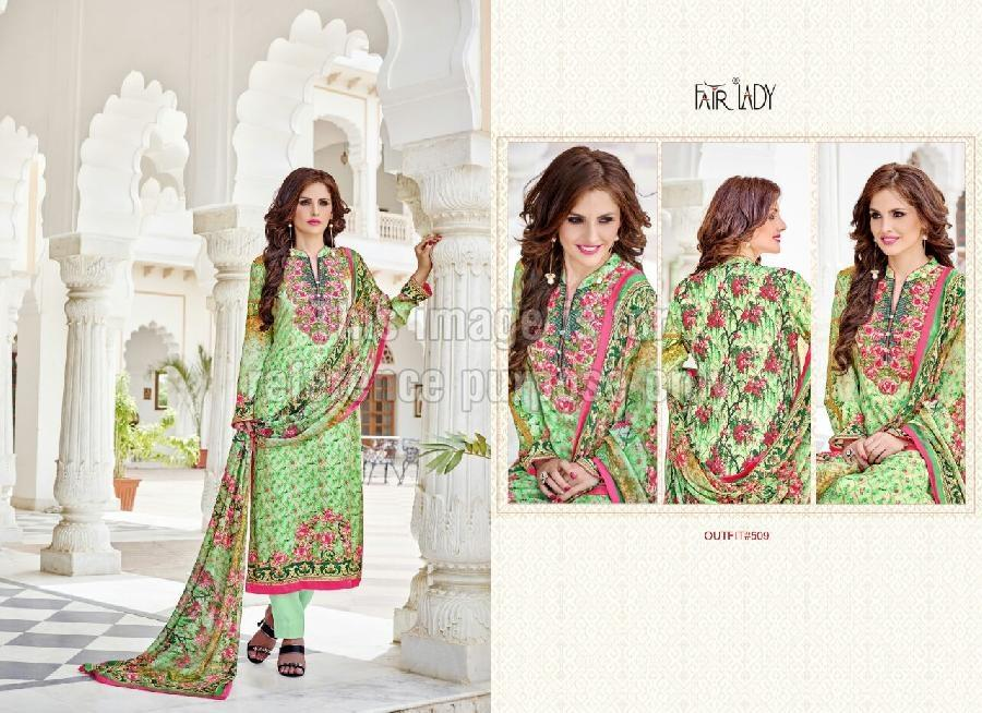 Green Coloured Printed Pakistani Crepe Suit