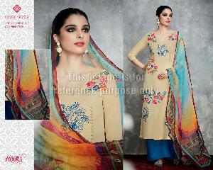 Embroidered Beige Coloured Palazzo Suit