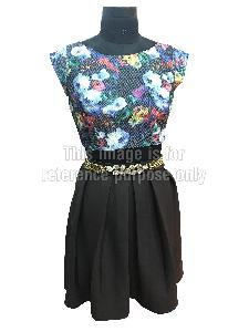 Multi-Coloured Floral Printed Top with Black Coloured Skirt