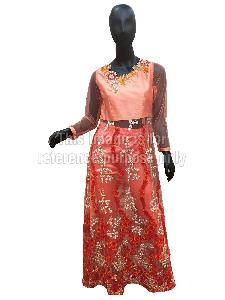 Peach Coloured Net Kurti with Floral Thread Work