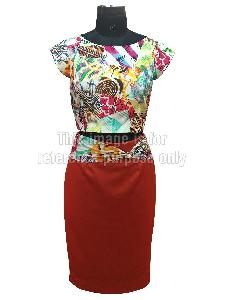 Crop Top with Digital Print and Skirt