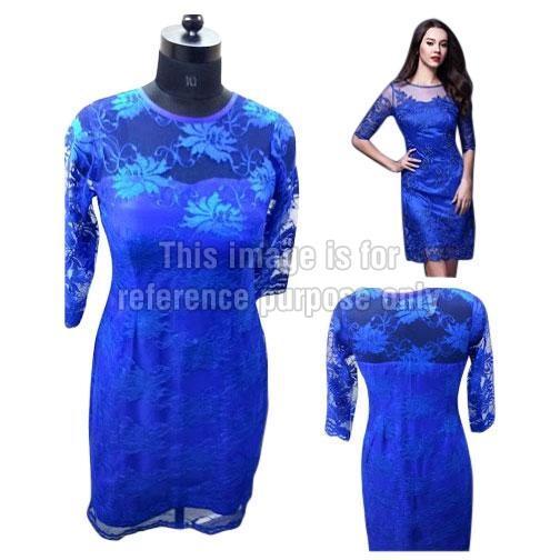 Blue Coloured Net Dress
