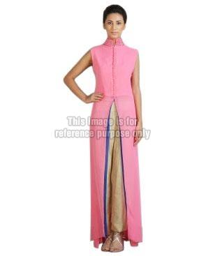 Pink Coloured Long Kurti with Cream Coloured Pant