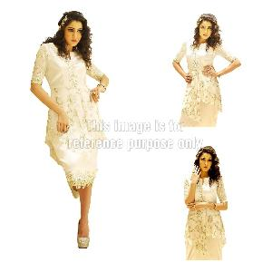 White Coloured Embroidered One-Piece Dress