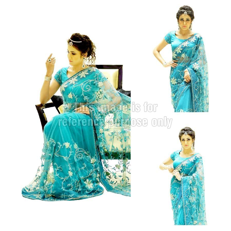 Embroidered Net Blue Coloured Saree