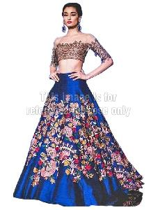 Off-Shoulder Crop Top With Blue Coloured Embroidered Skirt
