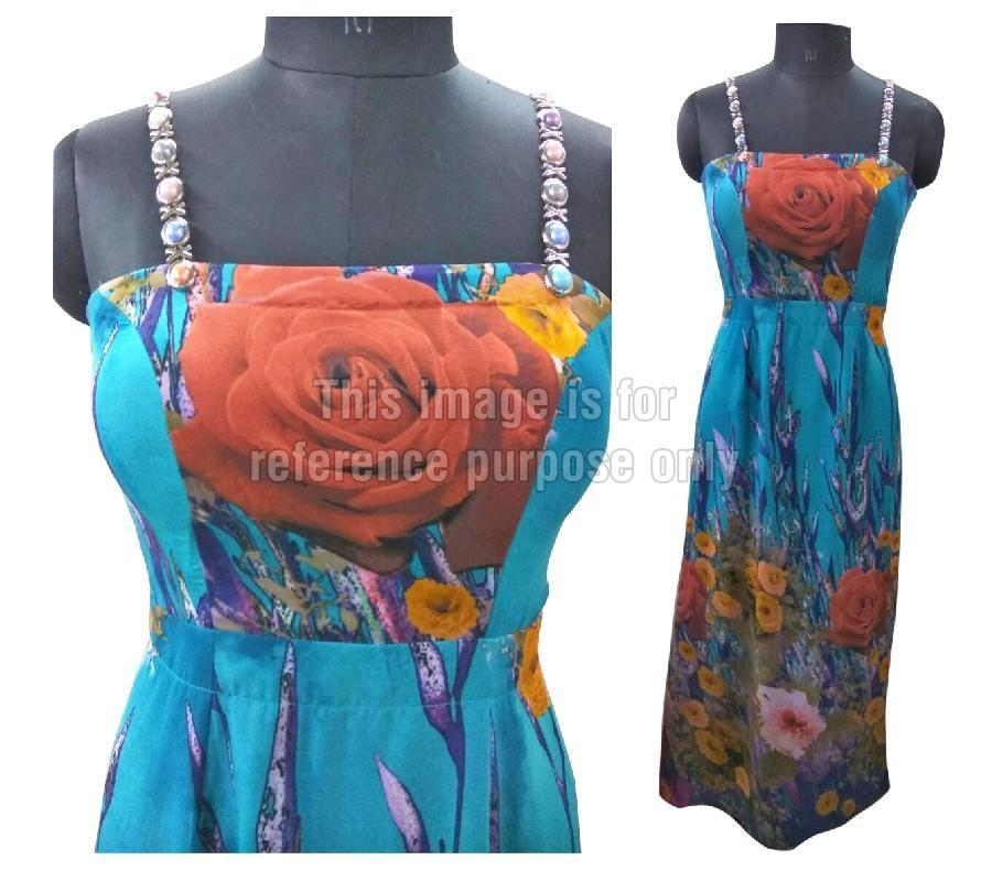 Floral Printed Blue Coloured One-Piece Dress