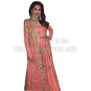 Peach Coloured Anarkali Style Suit