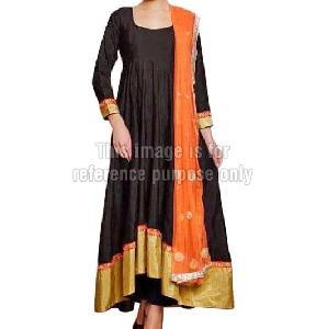 Black Coloured Long Anarkali Suit With Dupatta