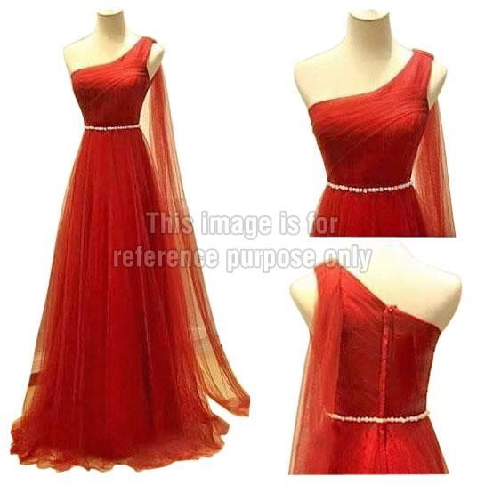 One-Shoulder Red Coloured Net Dress
