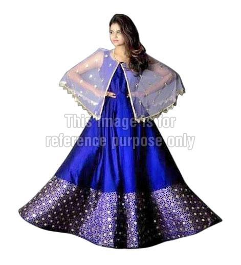 Blue Coloured One-Piece Dress with Poncho