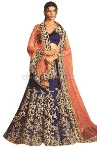 Navy Blue Coloured Embroidered Lehenga with Dupatta