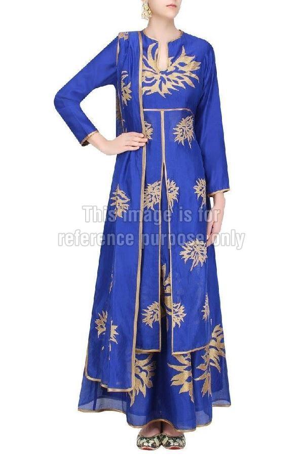 Blue Coloured Long Suit with Skirt & Dupatta