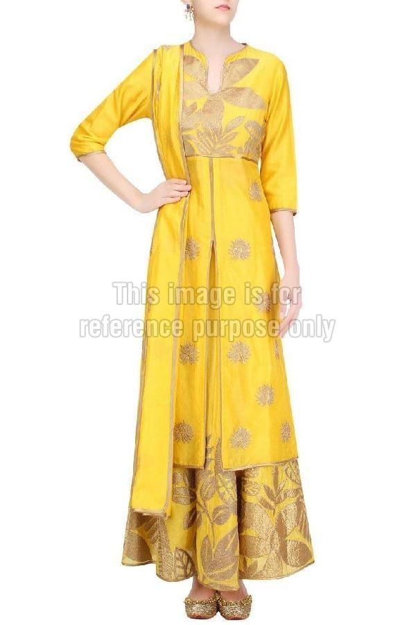 Yellow Coloured Long Suit with Skirt & Dupatta