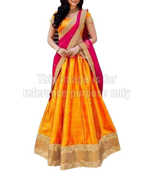 Yellow Coloured Lehenga with Heavy Border Work & Dupatta