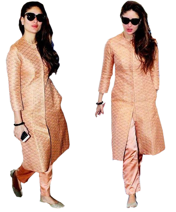 Peach Coloured Front-Cut Kurta with Trousers