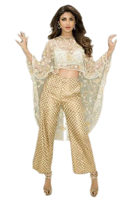 Sheer Poncho With Palazo Style Pant