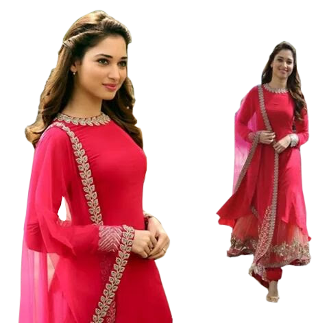 Red Coloured Anarkali Suit with Dupatta