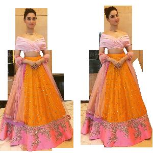 Orange Pink Skirt with Off Shoulder Blouse & Dupatta