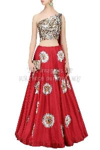 One-Shoulder Sequin Work Crop Top with Red Coloured Skirt