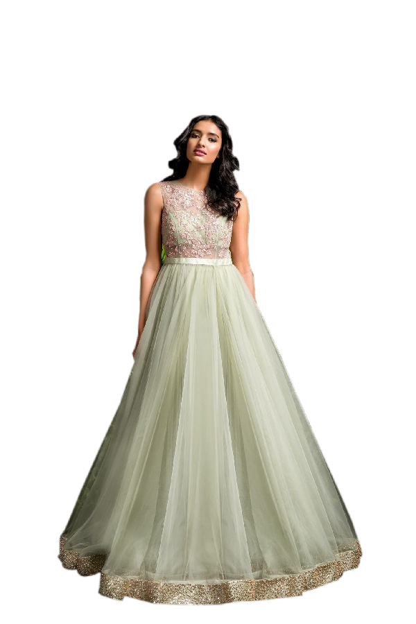 Light Olive Green Coloured Gown