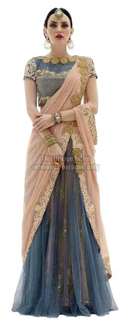 Grey and Peach Colored Lehenga Saree with Blouse
