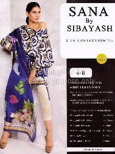 Blue Coloured Printed Satin Shirt With Silk Dupatta