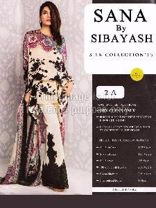 Unstitched Satin Shirt With Silk Dupatta