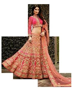 Light Pink Coloured Lehenga With Full Sleeve Choli and Dupatta