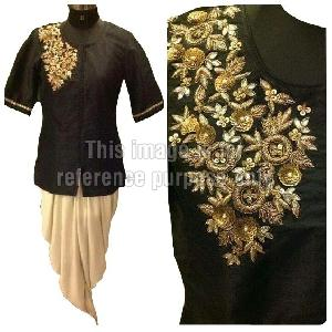 Black Colored Kurta with Cream Colored Dhoti
