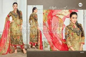 Moss Green Coloured Straight Printed Suit With Dupatta