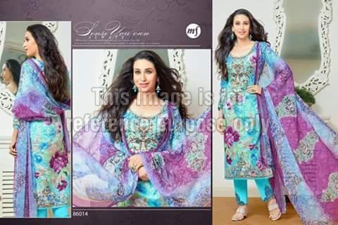 Printed Sky Blue & Purple Coloured Suit With Dupatta
