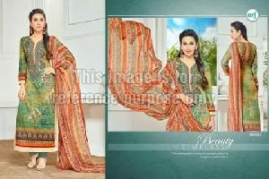 Green Coloured Printed Suit with Dupatta
