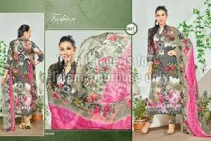 Printed Grey Coloured Suit With Dupatta