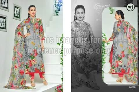 Grey Coloured Floral Printed Simple Suit