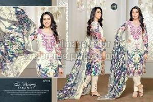 Printed Off-White Suit With Dupatta