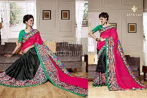 Black & Red Saree With Multi-Coloured Border