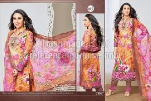 Simple Floral Print Suit With Dupatta