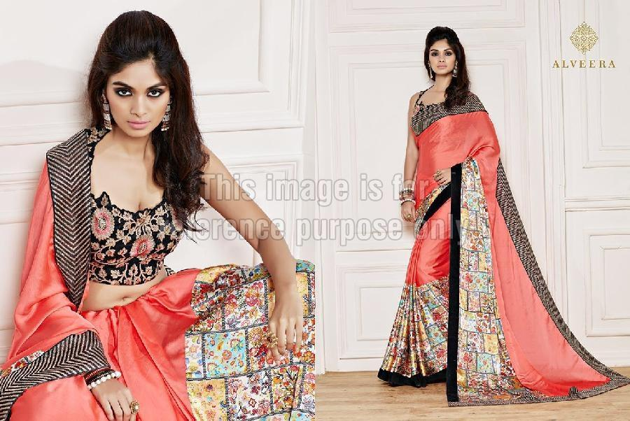 Printed Peach Coloured Saree With Designer Blouse