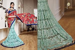 Embroidered Crepe Satin Designer Saree